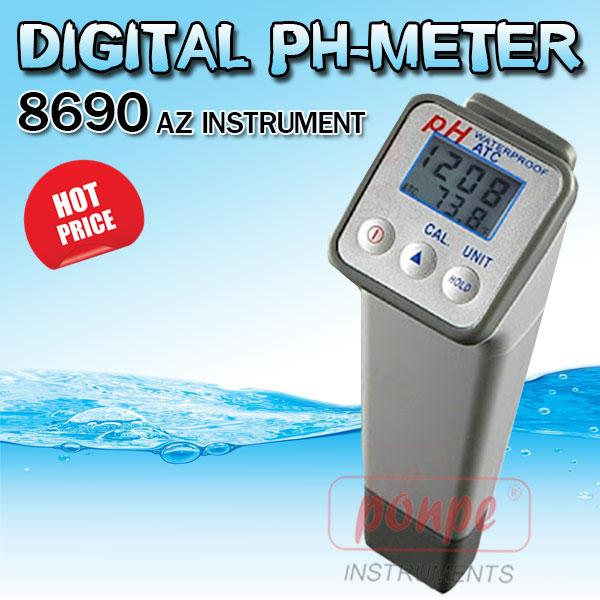 8690 Professional Waterproof Digital PH-Meter, Dual Display