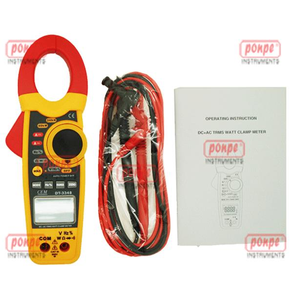 Clamp-on AC/DC Current Voltage Wattage Frequency Resista DT-3348