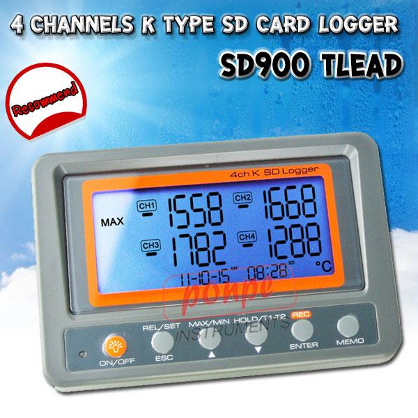 SD900 / TLEAD เครื่องวัดและบันทึกอุณหภูมิ 4 แชนแนล