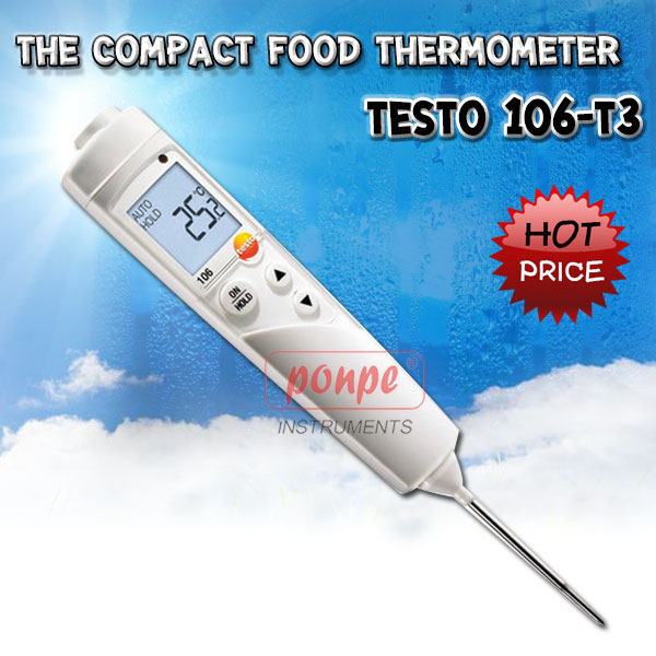 The compact food thermometer with alarm Testo 106-T3