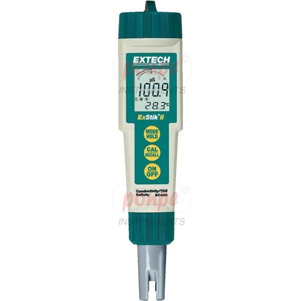 เครื่องวัดความนำไฟฟ้า,TDS,ความเค็ม, pH และอุณหภูมิ วัดค่าพารามิเตอร์ กราฟแท่งอะนาล็อกบ่งชี้แนวโน้ม หน่วยความจำเก็บการอ่านค่าสูงสุด 25 รายการ มิเตอร์กันน้ำพร้อมเซ็นเซอร์ความแม่นยำสูง