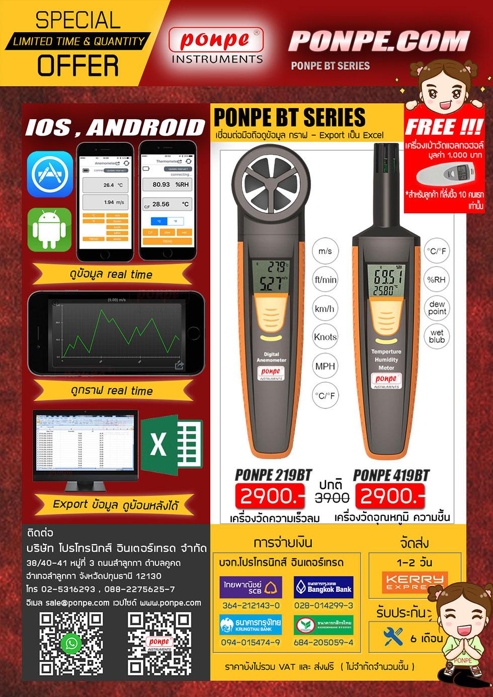 Bluetooth เครื่องวัดความเร็วลม