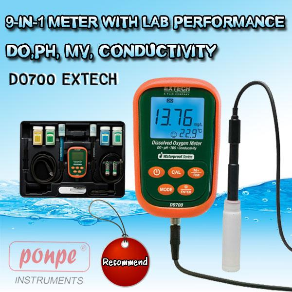 DO700 EXTECH pH Meter 9-in-1 Meter with Lab Performance DO, pH, mV, Conductivity