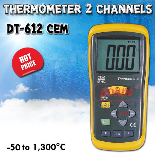 DT-612 / CEM เครื่องวัดอุณหภูมิ Thermocouple Thermometer 2 Channels