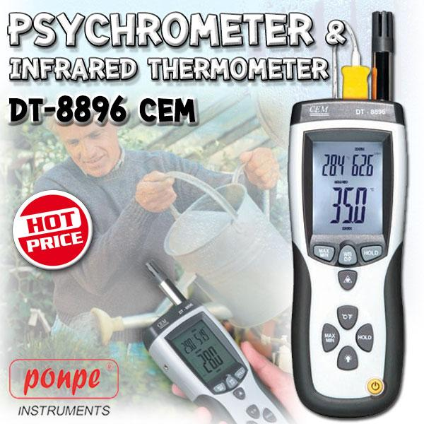 DT-8896 / CEM เครื่องวัดอุณหภูมิ ความชื้น Psychrometer with InfraRed Thermometer