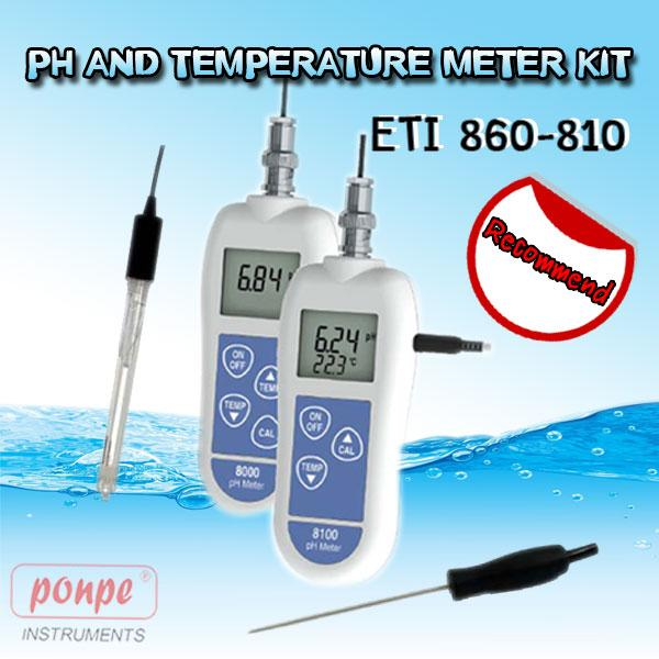 ETI 860-810 PH AND TEMPERATURE METER KIT
