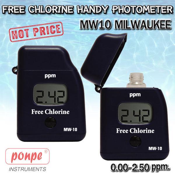 MW10 Milwaukee เครื่องวัดค่าคลอรีนอิสระ Free Chlorine Handy Photometer