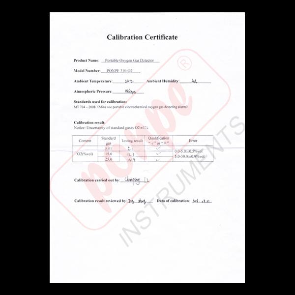 PONPE 310-O2 Calibration Certificate