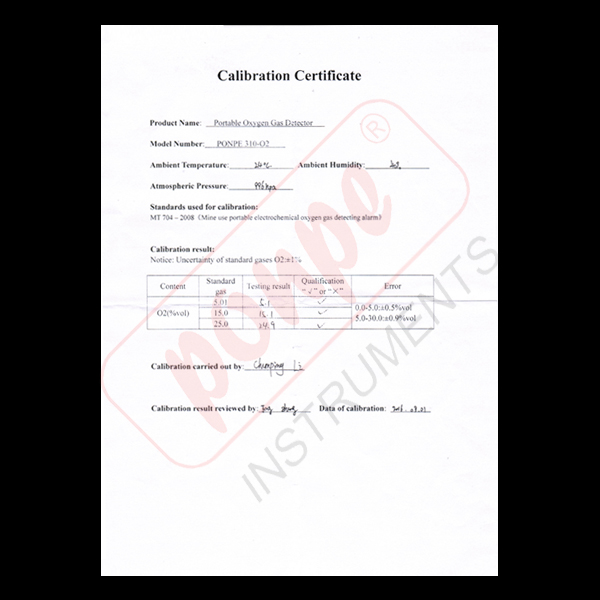 PONPE 310 SERIES CALIBRATION CERTIFICATE