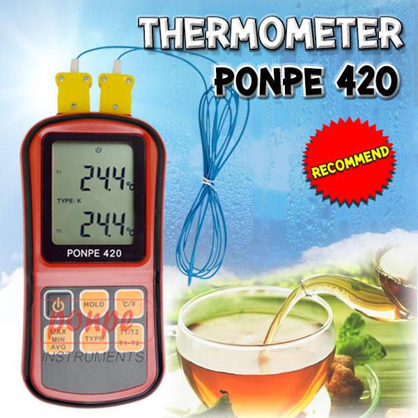 PONPE 420 เครื่องวัดอุณหภูมิ Thermometer Type K/J/T/E/R/S/N