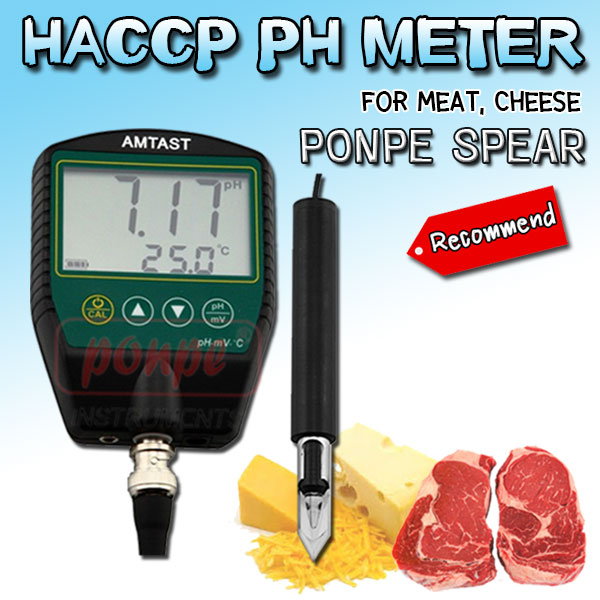 PONPE SPEAR HACCP pH Meter for Meat, Cheese