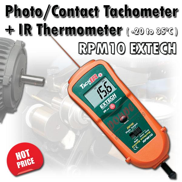 RPM10 EXTECH เครื่องวัดความเร็วรอบ แบบสัมผัส / แสง + IR Thermometer