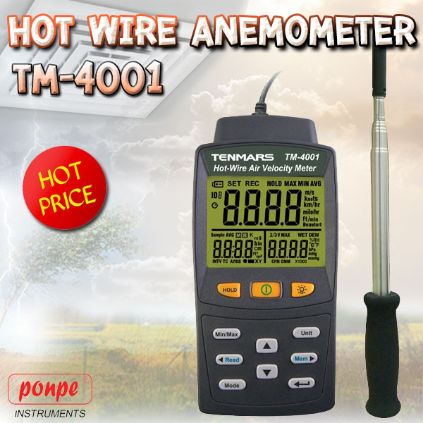 TM-4001 TENMARS Hot Wire Anemometer
