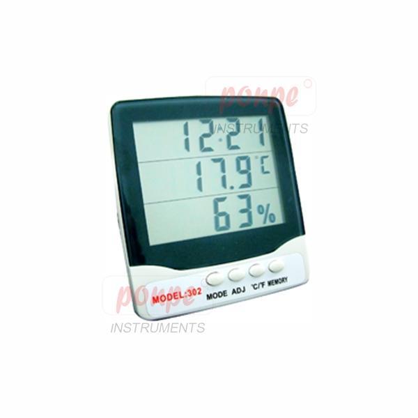 เครื่องวัดอุณหภูมิ ความชื้น พร้อมนาฬิกา รุ่น HY-302